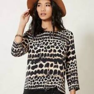 Anthro Maeve Linosa Leopard Blouse | Silk | Large